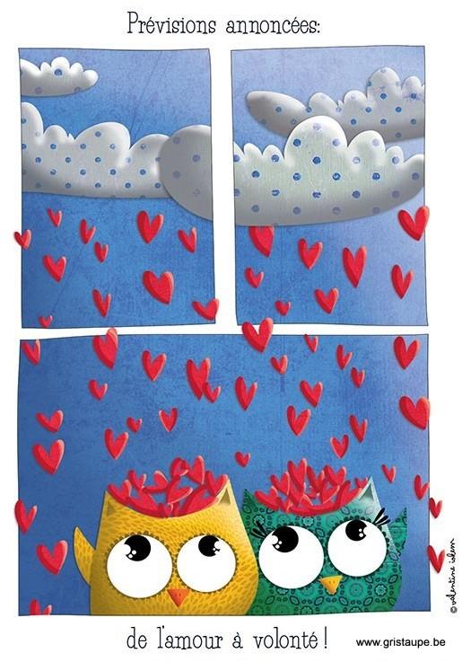 carte postale illustrée par valentine iokem et éditée aux édtions de cortil prévisions annoncées: de l'amour à volonté