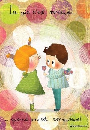 carte postale illustrée par valentine iokem et éditée aux éditions de cortil la vie c'est mieux quand on est amoureux
