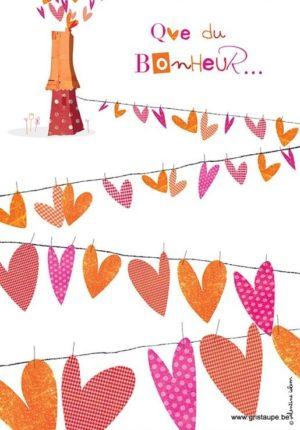 carte postale illustrée par valentine iokem et éditée aux éditions de cortil que du bonheur