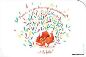 carte postale illustré par valentine iokem et éditée aux éditions de cortil s'aimer à la folie