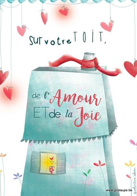 carte postale illustrée par valentine iokem et éditée aux éditions de cortil sur votre toit de l'amour et de la joie