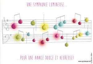 carte postale illustrée par valentine iokem et éditée aux éditions de cortil une symphonie lumineuse pour une année douce et heureuse