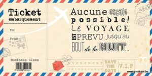 carte postale illustrée par valentine iokem et éditée aux éditions de cortil ticket embarquement