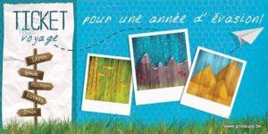 carte postale illustrée par valentine iokem et éditée aux éditions de cortil ticket voyage