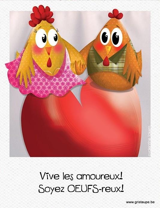 carte postale illustrée par valentine iokem et éditée aux éditions de cortil vive les amoureux soyez oeufs-reux