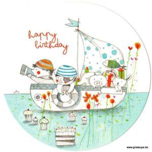 carte postale illustrée par francesca quatraro happy birthday et édité aux éditions des correspondances