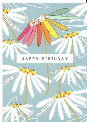 carte postale double illustrée par suzanne et éditée aux éditions quire happy birthday fleurs bleues