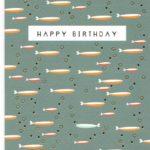 carte postale double illustrée par suzanne et éditée aux éditions quire happy birthday poissons