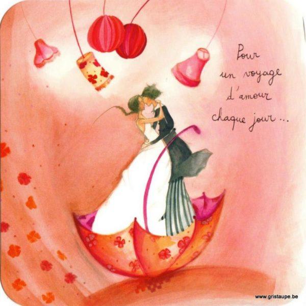 carte postale illustrée par anne sophie rutsaert et éditée aux éditions des correspondances voyage d'amour