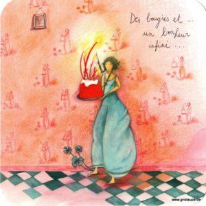 carte postale illustrée par anne sophie rutsaert et éditée aux éditions des correspondances des bougies et un bonheur infini