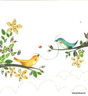 carte postale illustrée par baptistine mesange et éditée aux éditions aquarupella oiseaux sur la branche
