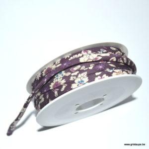 bobine de lien froufrou de couleur liberty fleuri aubergine