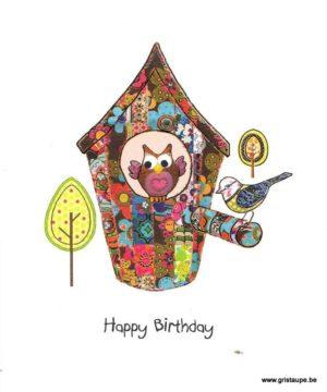 carte postale illustrée par steph dekker et éditée aux éditions port folio owl at home