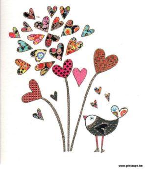 carte postale illustrée par steph dekker et éditée aux éditions port folio bird of love