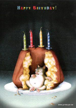 carte postale illustrée par kathrin kraft et éditée aux éditions inkognito happy birthday