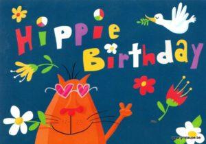 carte postale illustrée par nastja holtfreter et éditée aux éditions inkognito hippie birthday