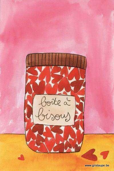 carte postale illustrée par ccile drevron et éditée aux éditions coté bord'eau boite à bisous