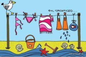 carte postale illustrée par cecile devron et éditée aux éditions coté bord'eau en vacances plage