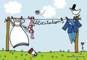 carte postale illustrée par cecile devron et éditée aux éditions coté bord'eau félicitations mariage