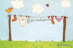 carte postale illustrée par cecile devron et éditée aux éditions coté bord'eau félicitations naissance