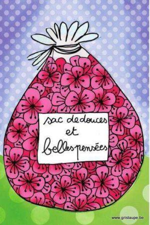 carte postale illustrée par cecile devron et éditée aux éditions coté bord'eau sac de douces et belles pensées