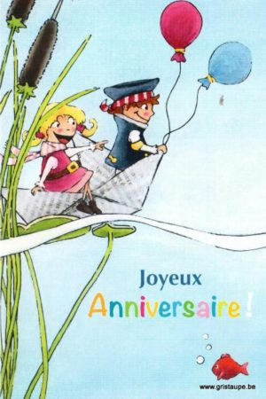 carte postale illustrée et éditée par christadoule joyeux anniversaire