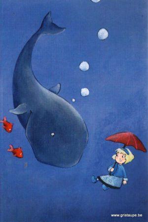 carte postale illustrée et éditée par christadoule la baleine