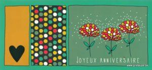 carte postale illustrée par clémence G et éditée aux éditions aquarupella joyeux anniversaire