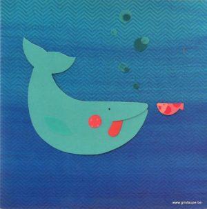 carte postale illustrée par coralie saudo et éditée aux éditions aquarupella la baleine