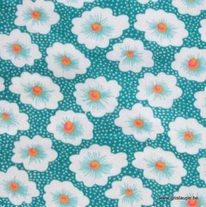 coupon de coton petit pan osami turquoise