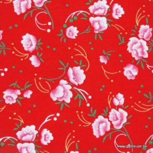 coupon de coton petit pan pivoine rouge