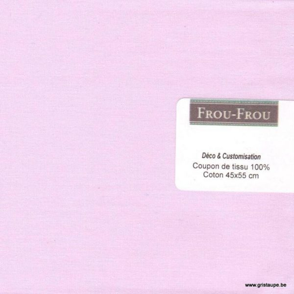 coupon de coton frou frou uni rose pale