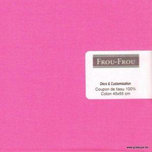 coupon de coton frou frou uni rose bonbon