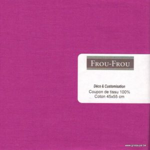 coupon de coton frou frou uni rose fuschia