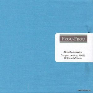 coupon de tissu froufrou uni de couleur bleu turquoise