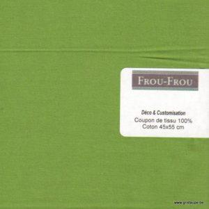 coupon de coton uni frou frou de couleur vert pomme