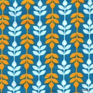 coupon de tissu soft cactus feuillage orange