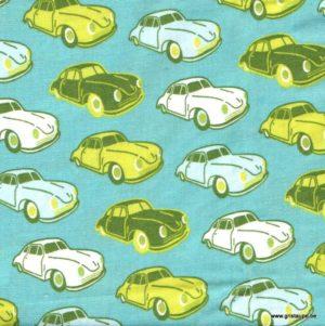 coupon de coton soft cactus voiture bleu