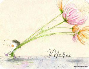 carte postale illustrée par francesca quatraro et éditée aux éditions des correspondances le fleuriste merci