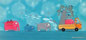 carte postale illustrée par hélène vesvard et éditée aux éditions aquarupella les éléphants