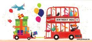 carte postale illustrée par Jenny wren et éditée aux éditions aquarupella birthday bus