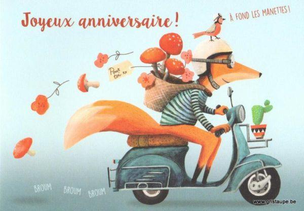carte postale éditée par les éditions enfant terrible à fond les manettes! joyeux anniversaire