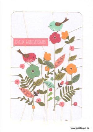 carte postale découpée au laser formant des oiseaux et des fleurs joyeux anniversaire