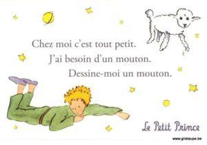 carte postale illustrée par saint exupery et éditée aux éditions kiub dessine moi un mouton