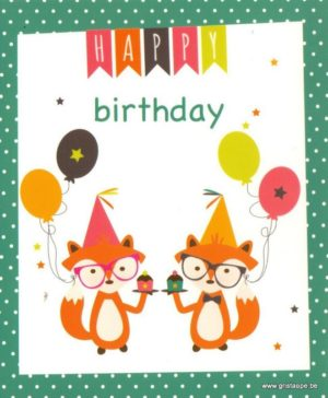 carte postale illustrée par melle charly et éditée aux éditions aquarupella happy birthday renard