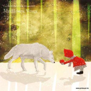 carte postale illustrée par nathalie fournasson et éditée aux éditions coté bord'eau la fille et le loup