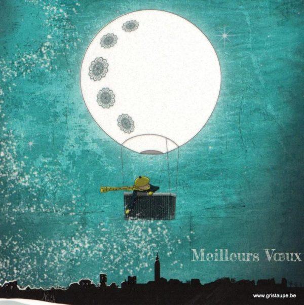 carte postale illustrée par nathalie fournasson et éditée aux éditions coté bord'eau le ballon à neige