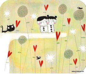 carte postale illustrée par nicolas gouny et éditée aux éditions des correspondances deux pierrots et un chat noir