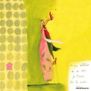 carte postale illustrée par anne sophie rutsaert et éditée aux éditions des correspondances ne pas oublier de se dire je t'aime dès le matin même