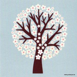 carte postale double arbre en fleurs